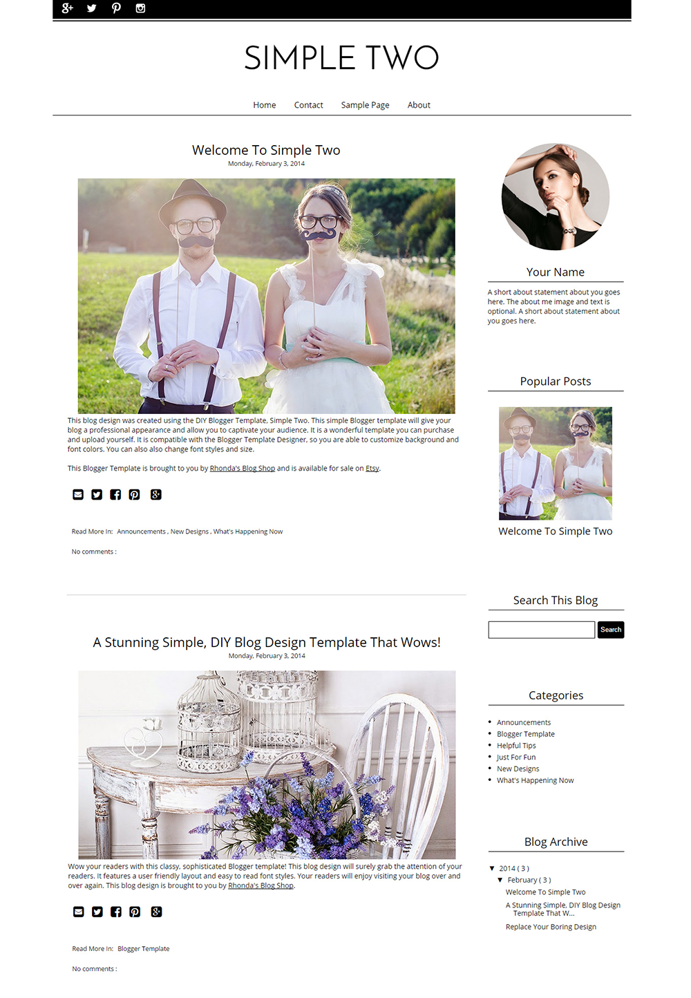 Vorgefertigten Blogger-Vorlagen Instant Download - Darling - Blogger ...