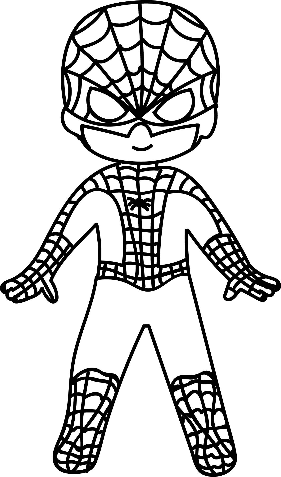 Cool Waiting Cartoon Superhero Spiderman Kid Coloring Page