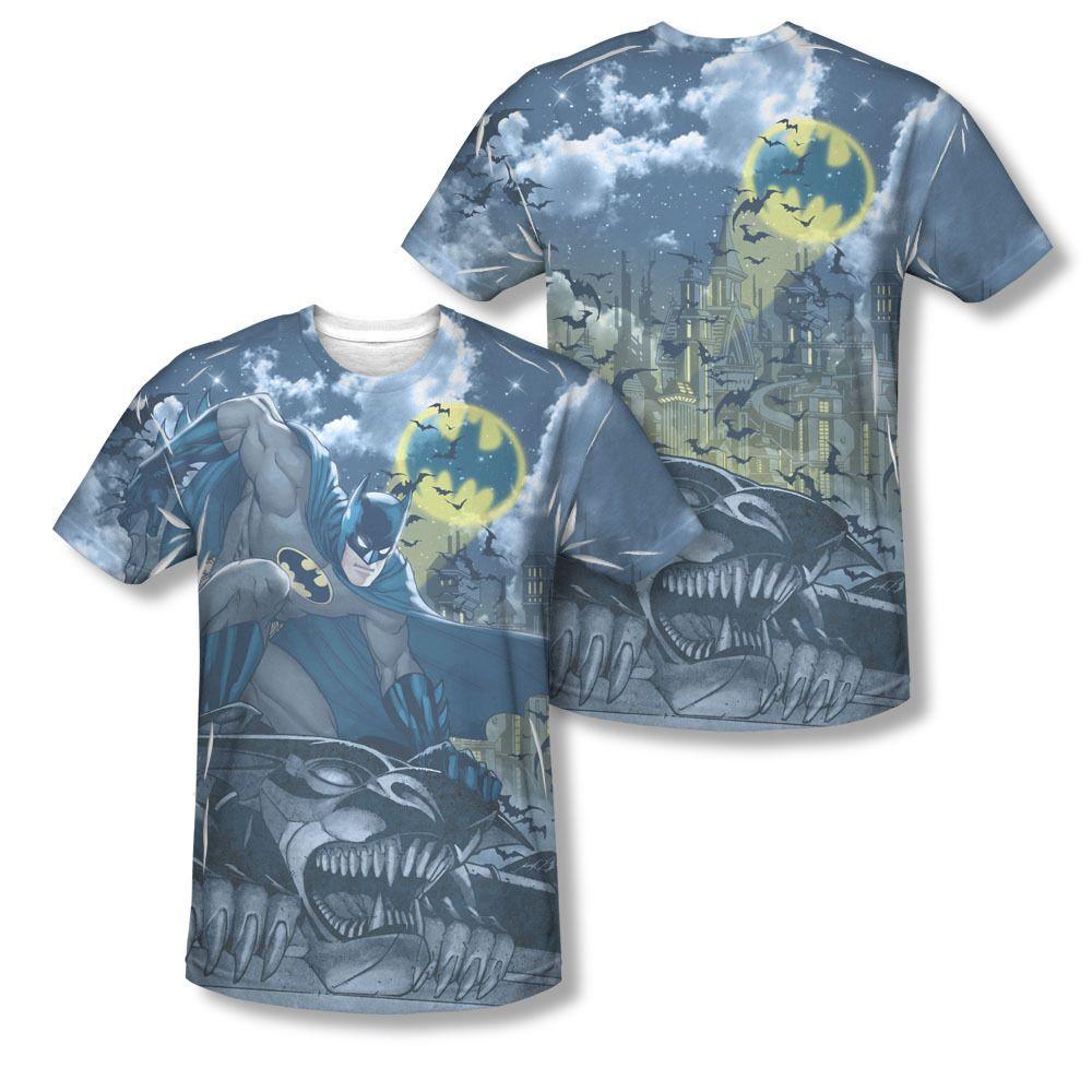 Batman Gotham Gargoyle Spotlight Sublimation ALL OVER PRINT Vintage T-shirt top Available In Sizes:Small, Medium, Large, XL, 2XL #Batman #BruceWayne #TheDarkKnight #DCComics  #TheCapedCrusader #BatLogo #BatSignal #JusticeLeague #GothamCity #BatmanTshirt