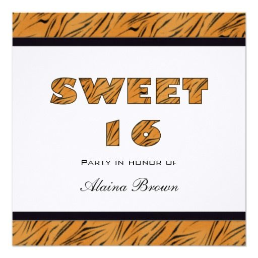 Tiger Print Sweet 16 Party Invitation