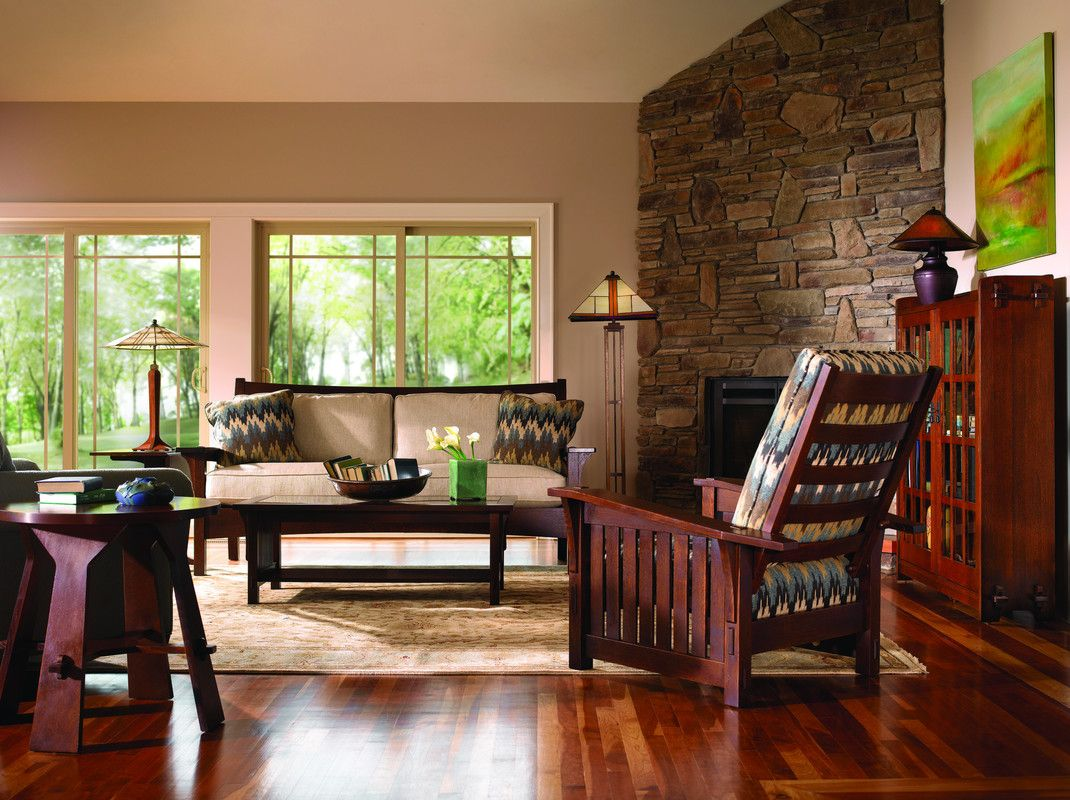 Stickley Mission Furniture Traditions At Home Craftsman Living Rooms Traditional Design Living Room Craftsman Style Living Room