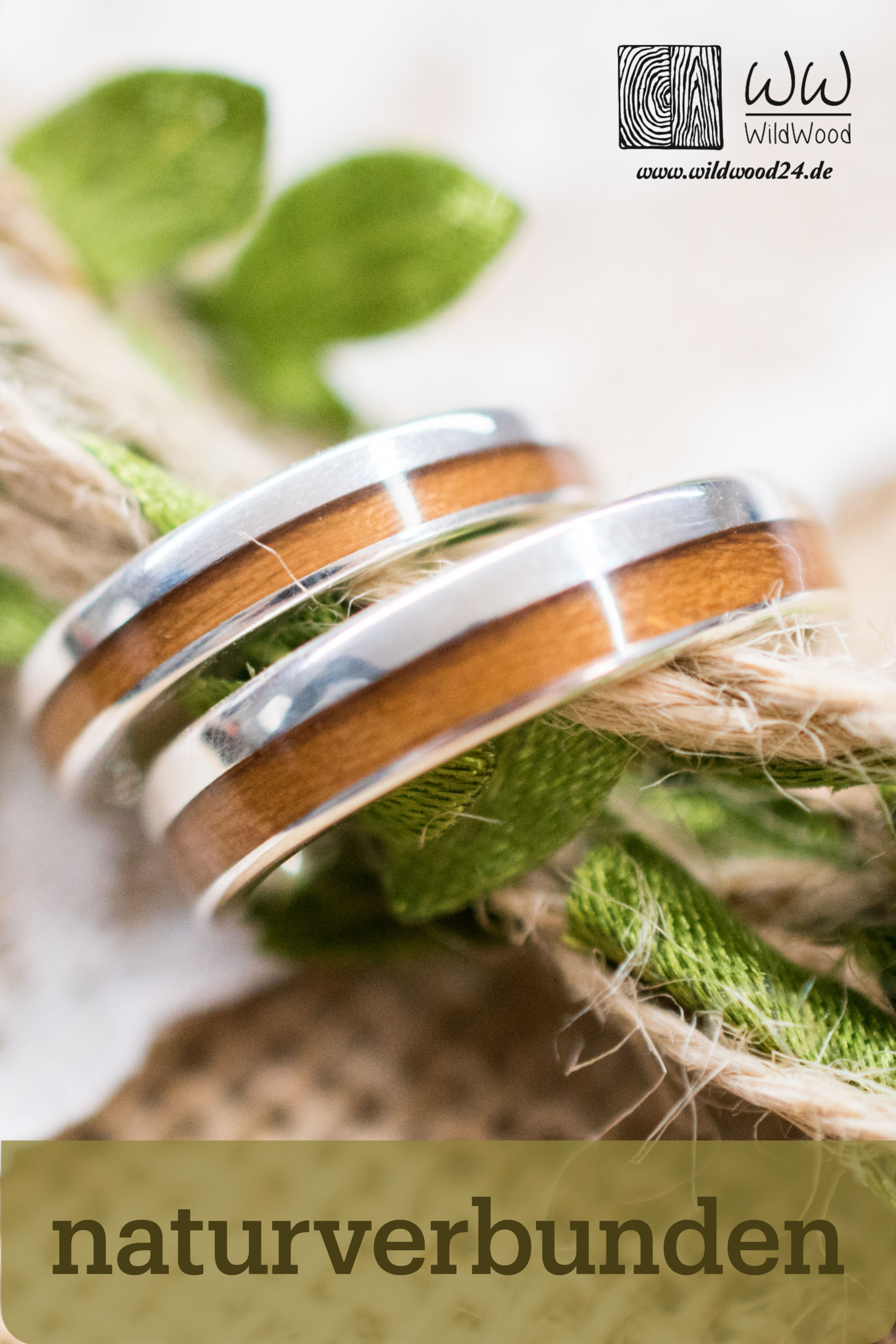 Wedding band Set Wooden Bentwood Rings Gold Silver Roségold