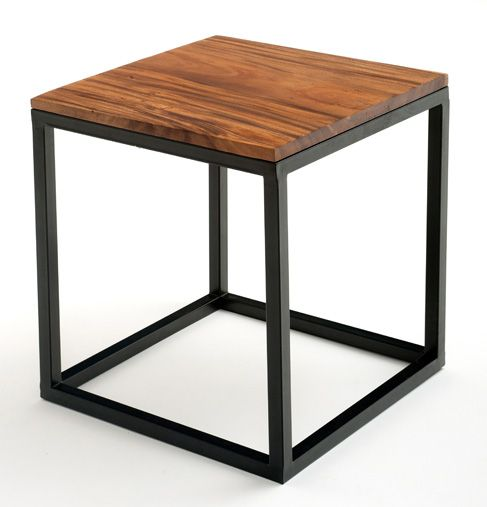 Contemporary Rustic End Table Or Nightstand Metal Base With Solid