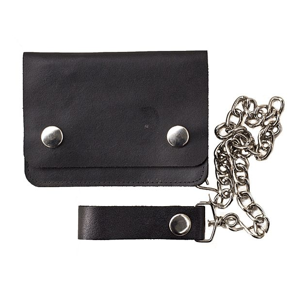 Biker style leather wallet - practical strong leather wallet complete with chain for added security from Prime Hide leather
