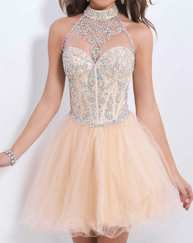 0caf67a4e86 Short Mini Beaded Tulle Graduation Homecoming Dresses Party Prom Bridesmaid  Gown  Handmade  EmpireWaist  Formal