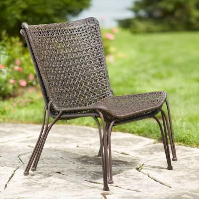 Hampton Bay Arthur All Weather Wicker Patio Stack Chair (2 Pack) HD16401    The Home Depot
