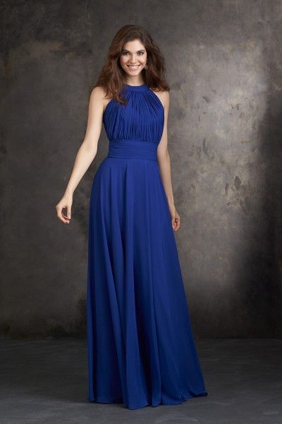 Newest Elegant Blue Long Women Bridesmaid Dresses Uk With Halter A