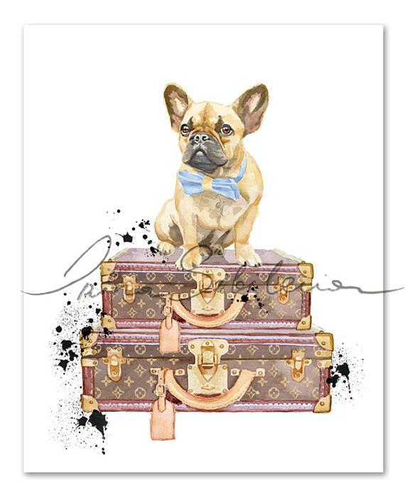 Fashion Print Louis Vuitton Wall Art French Bulldog Art Fashion