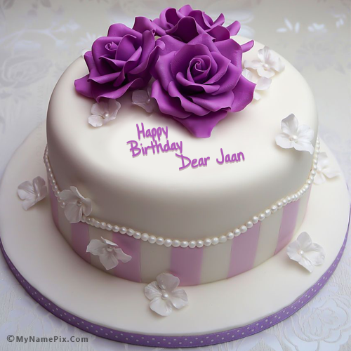 The name dear jaan is generated on Pretty Rose Birthday Cake With