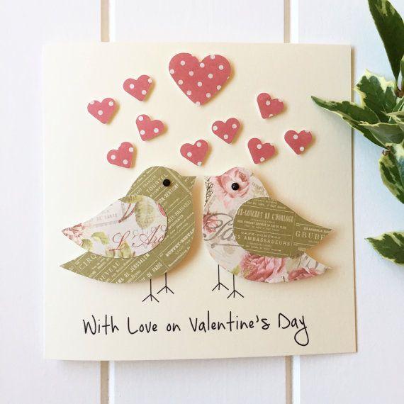 Anniversary Card Love Birds Card 3d Card Handmade Etsy Anniversary Cards Handmade Homemade Anniversary Cards Valentines Day Cards Handmade