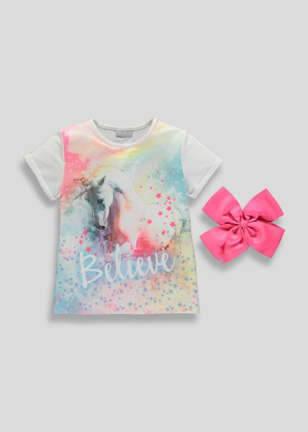 73f689c5e22b3 Little girl's will love this magical tee, designed with a colourful  sublimation print of a unicorn and 'believe' slogan to the front. The  t-shirt comes.