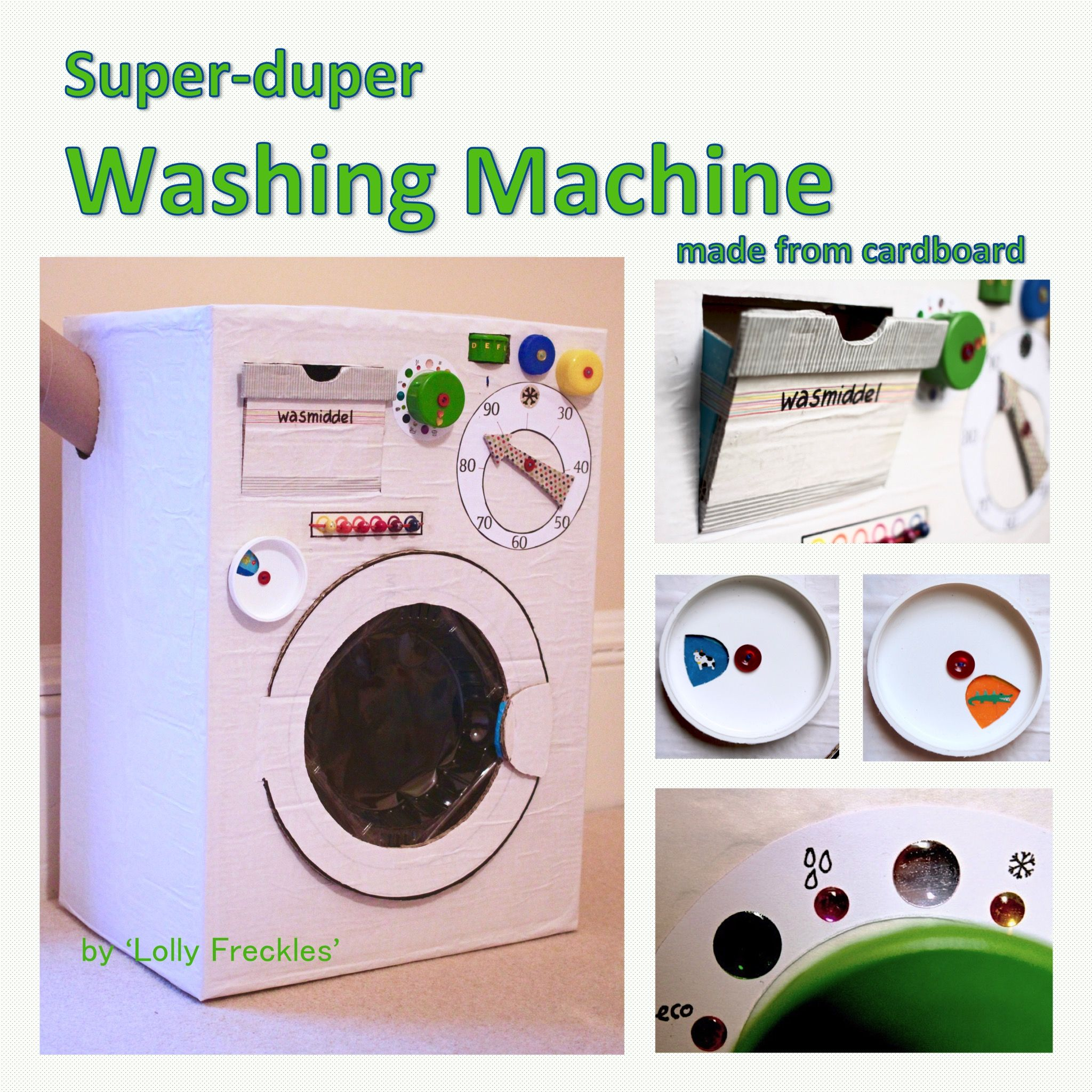 Washing Machine Made From A Cardboard Box With Dials Made From