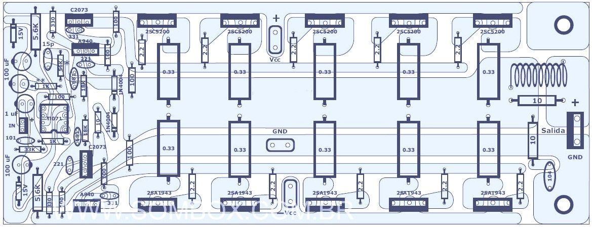 1000w Audio Amplifier Component Placement Jpg 1171 449