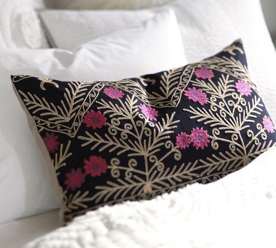 Taryn Embroidered Lumbar Pillow Cover Lumbar Pillow Cover Pottery Barn Pillow Cover Pillows
