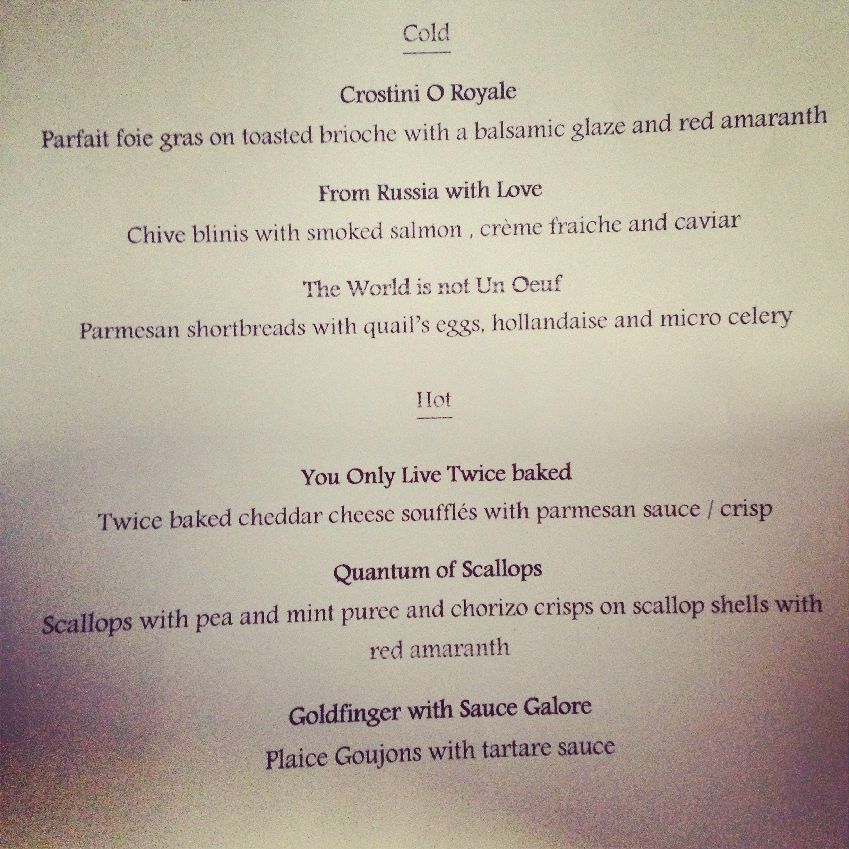 Canap menu jamesbond party london entertaining home for Wedding canape menu
