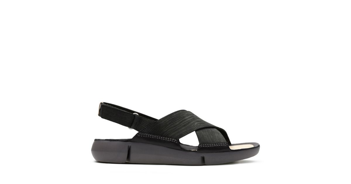 29c8455cdfd4 Tri Chloe Black Nubuck - Womens Flat Sandals - Clarks® Shoes Official Site