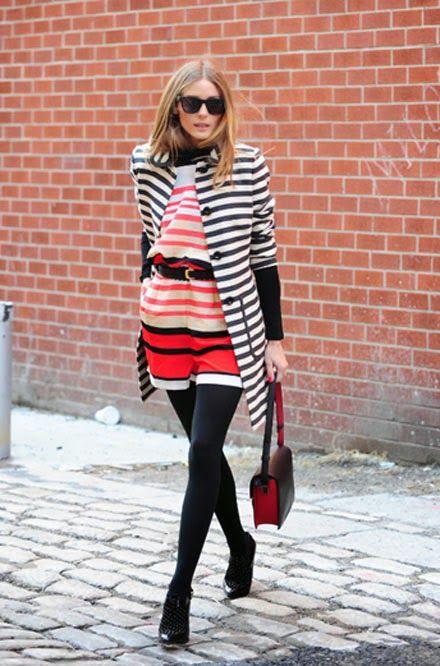 Olivia Palermo #blackandwhitestripedcoat #redwhiteandblackstripeddress #blacktights #blackandredbag #blackboots