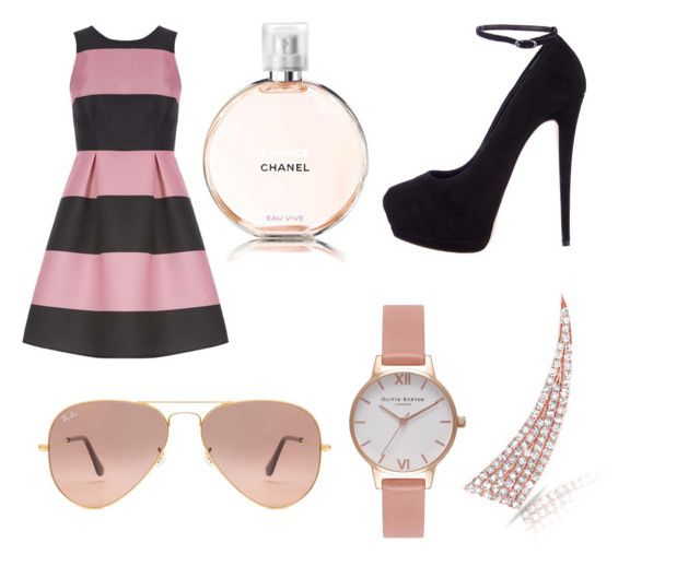 """""""💕"""" by angelica02 ❤ liked on Polyvore featuring Olivia Burton, Anne Sisteron, Luxe, Giuseppe Zanotti, Ray-Ban and Chanel"""