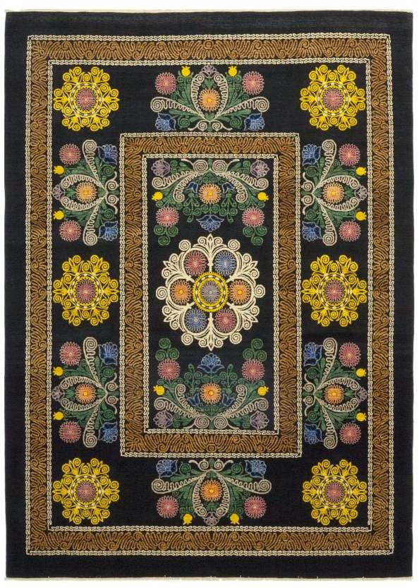 Solo Rugs Suzani Crotchet Hand Knotted Area Rug 8 10 X 12 5