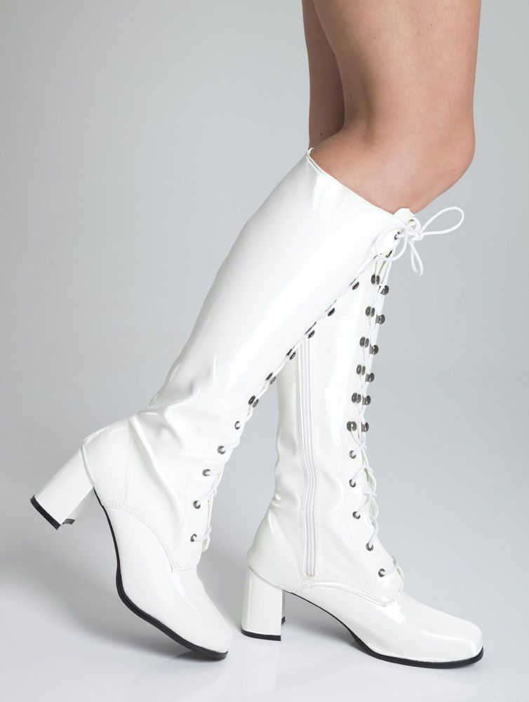 04ed789a1c27 Knee High White Boots - Fashion GoGo Boots - Size 10 UK - White Patent   Unbranded  KneeHighBoots