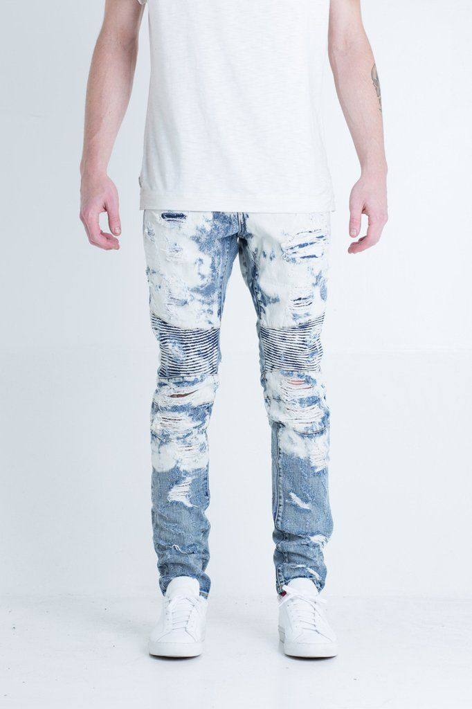 "Blue bleach biker denim White bleach splatter allover Distressed with exposed rips on front and back of pant 2 front zipper pockets 100% cotton Skinny fit 34"" s"