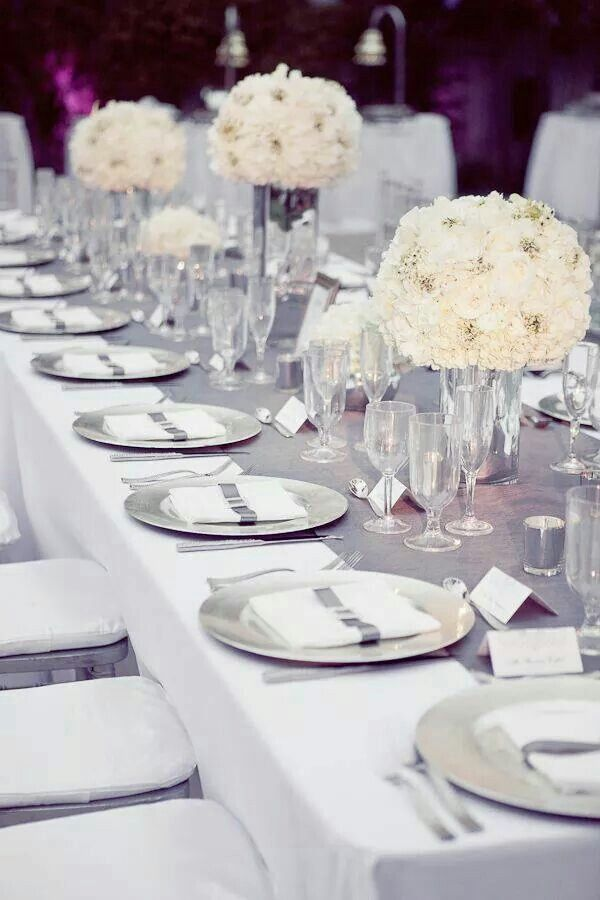 Deco De Table Blanc Et Argent Gris Mariage Decoration Table Mariage Deco Mariage Blanc