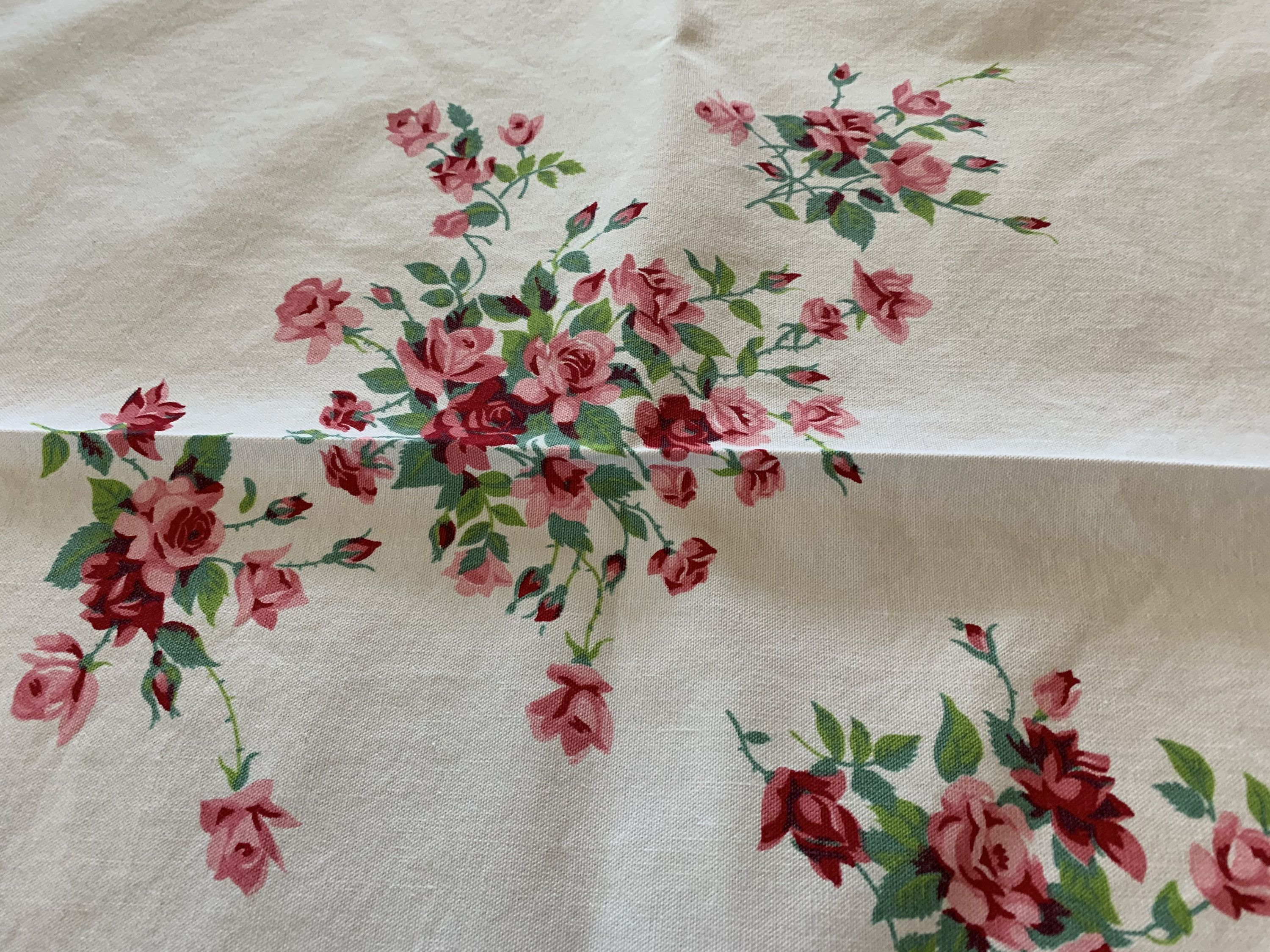 Vintage printed linen tablecloth 1950s square brown unused flowers