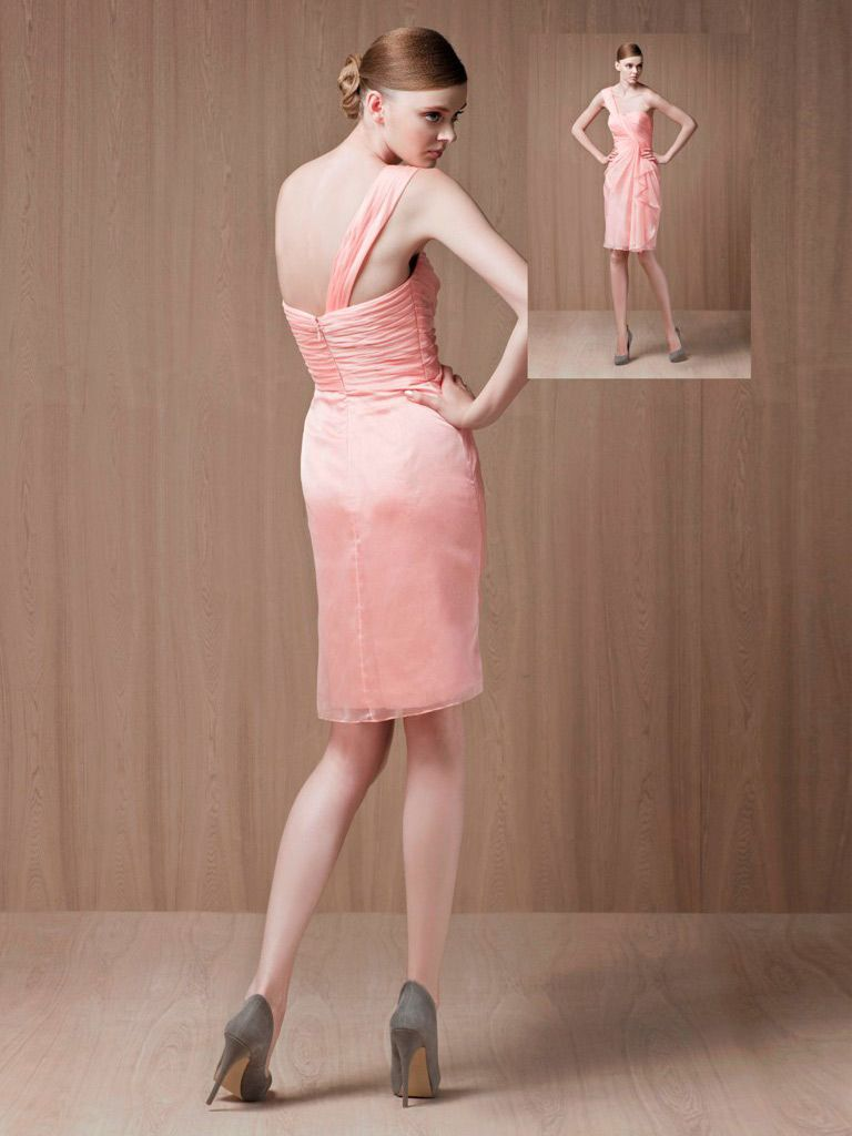 Light peach one shoulder sheath knee length cocktail dress