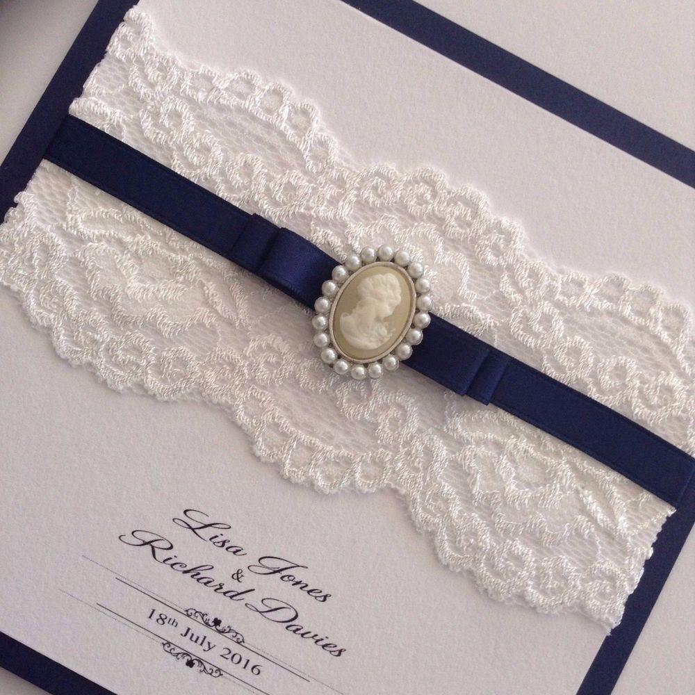 Handmade Lace and Cameo navy blue pocketfold wedding invitation ...