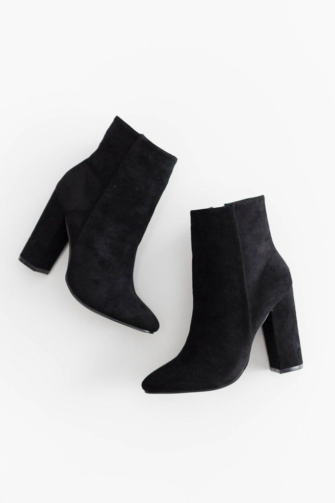 Womens Simple Faux Suede Round Toe Dressy Inside Zip Up Chunky High Heel Short Boots with Zipper
