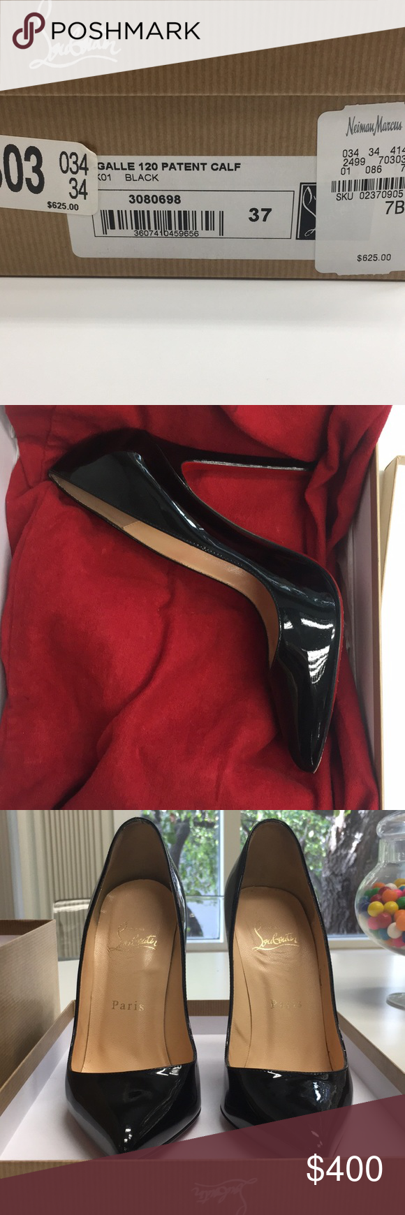 f5accb1de9f Christian Louboutin black patent stiletto Size 7  Christian Louboutin black  parent leather Pigalle Follies pumps from Neiman Marcus. Only worn 3 times  over ...