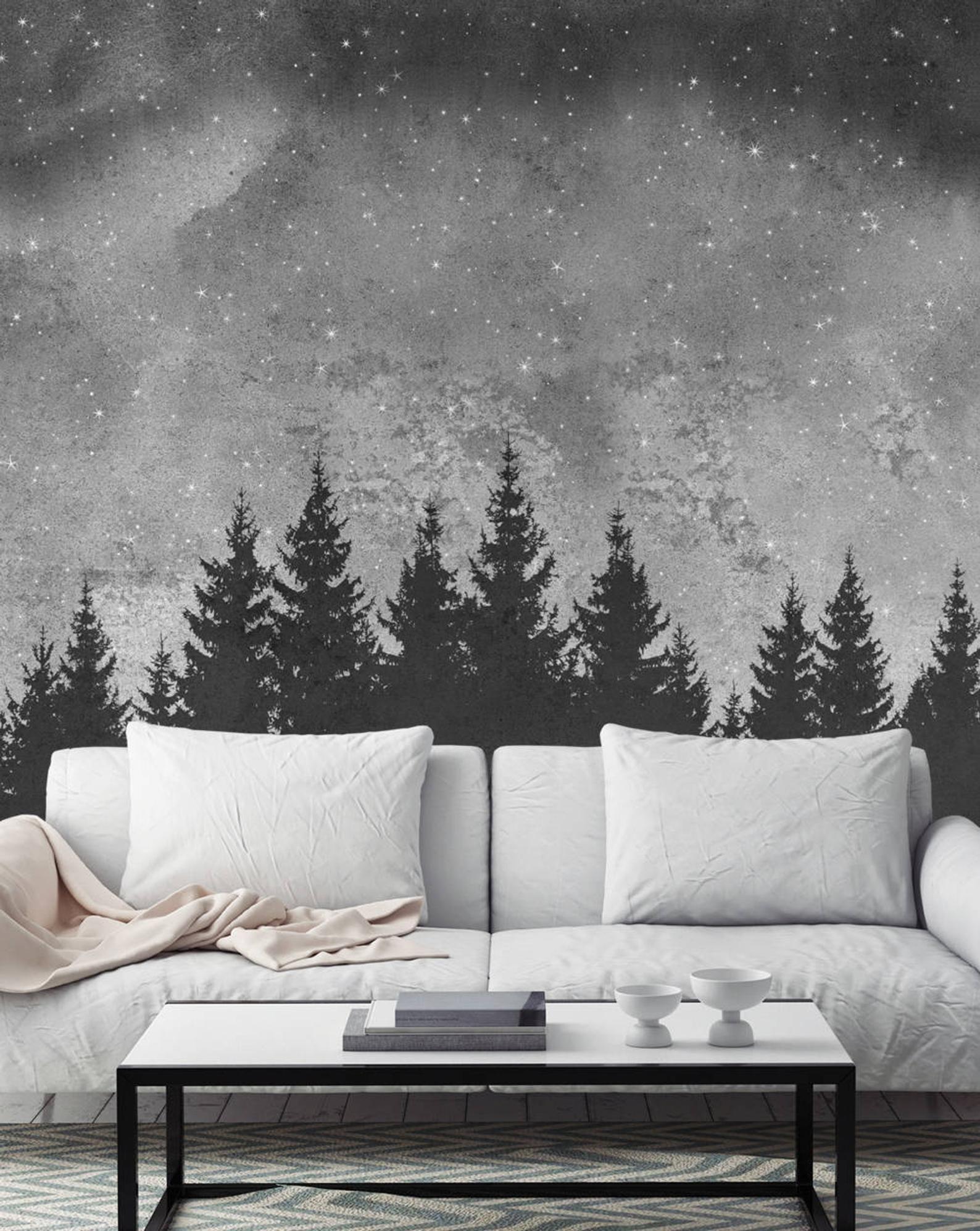 Forest Trees Night Scene Mural Wallpaper Black White Extra Etsy In 2021 Mural Wall Art Wall Art Wallpaper Mural Wallpaper
