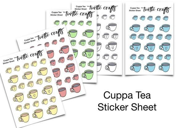 Cuppa Tea Sticker Sheet / cup of tea sticker sheet / planner stickers / sticker sheet / sticker set / planner decoration / tea stickers #cuppatea