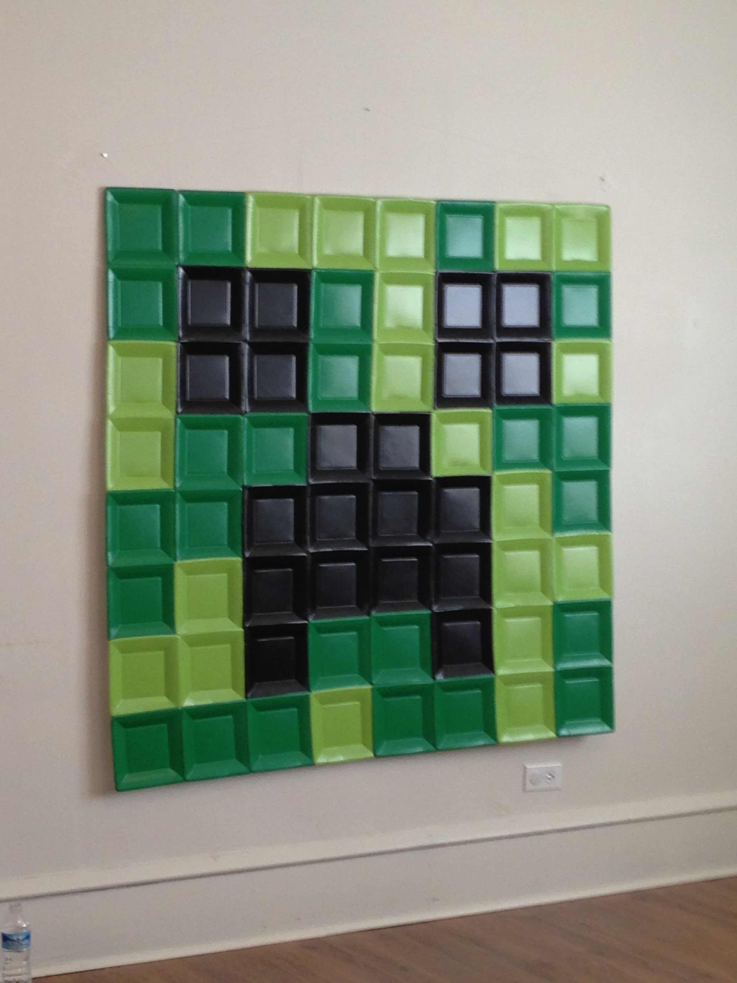 Minecraft Creeper Paper Plate Wall Art! (Paper plates from Party City. One pack each of light green dark green and black. Cost 10.00 hot glued them ... & Minecraft Creeper Paper Plate Wall Art! (Paper plates from Party ...