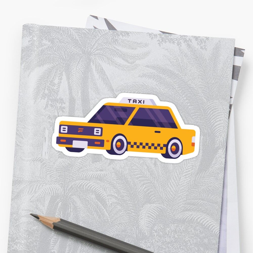Cute Taxi Sticker By Sleepingpasa Yellow Taxi Cute Stickers [ 1000 x 1000 Pixel ]