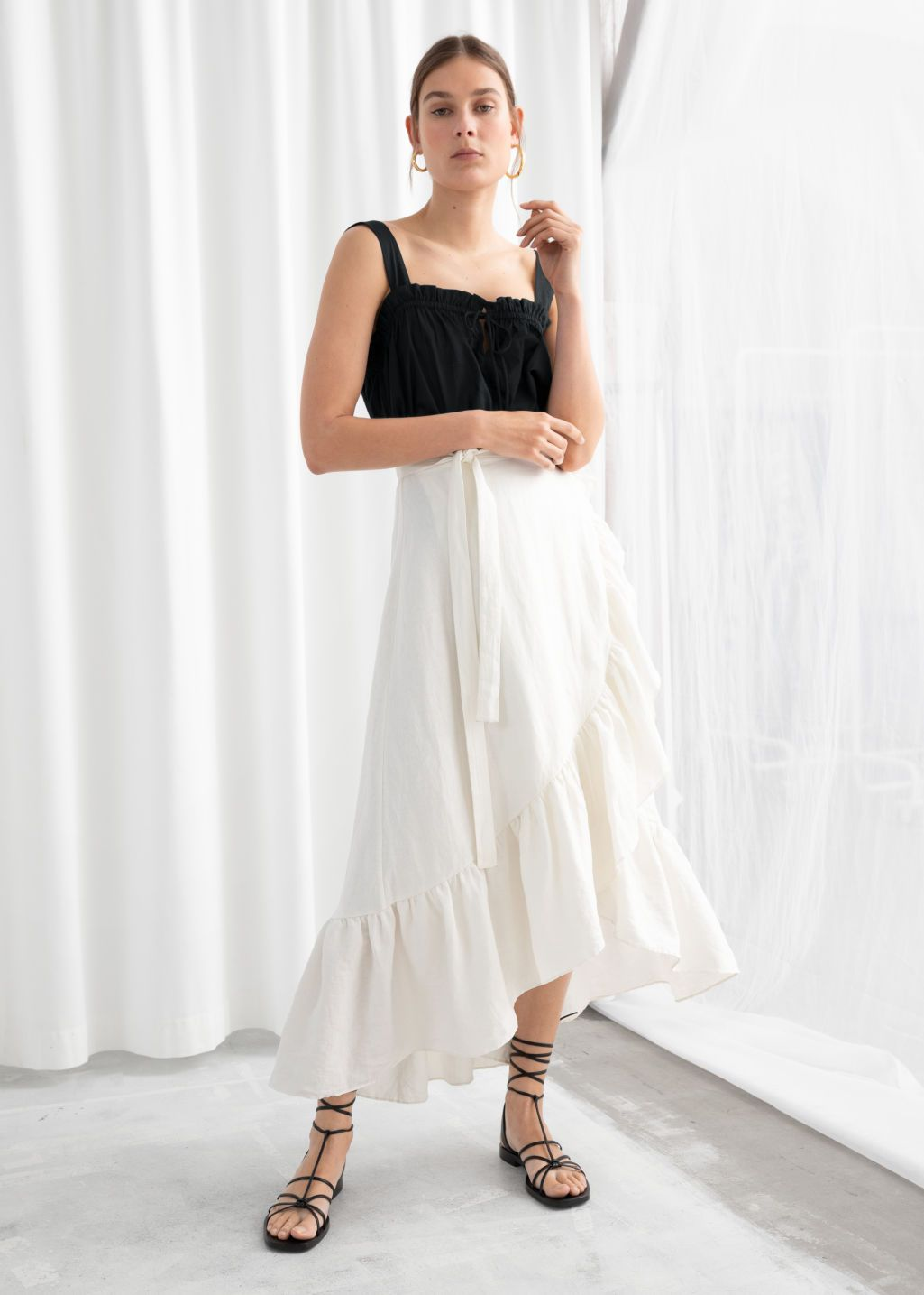 5b3cda1657ed6c Ruffled Linen Midi Wrap Skirt in 2019 | À La Mode | Midi wrap skirt ...