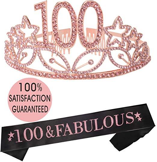 Amazon Com 100th Birthday Tiara And Sash Pink Happy 100th Birthday Party Supplies 1 100 Birthday Gifts 100th Birthday Party Decorations Happy 100th Birthday