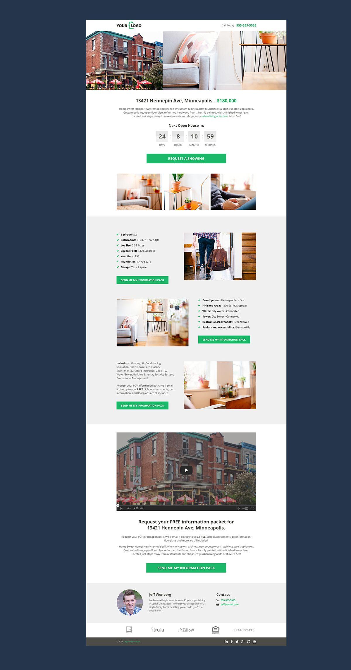 Real Estate Landing Page On Behance Real Estate Landing Pages