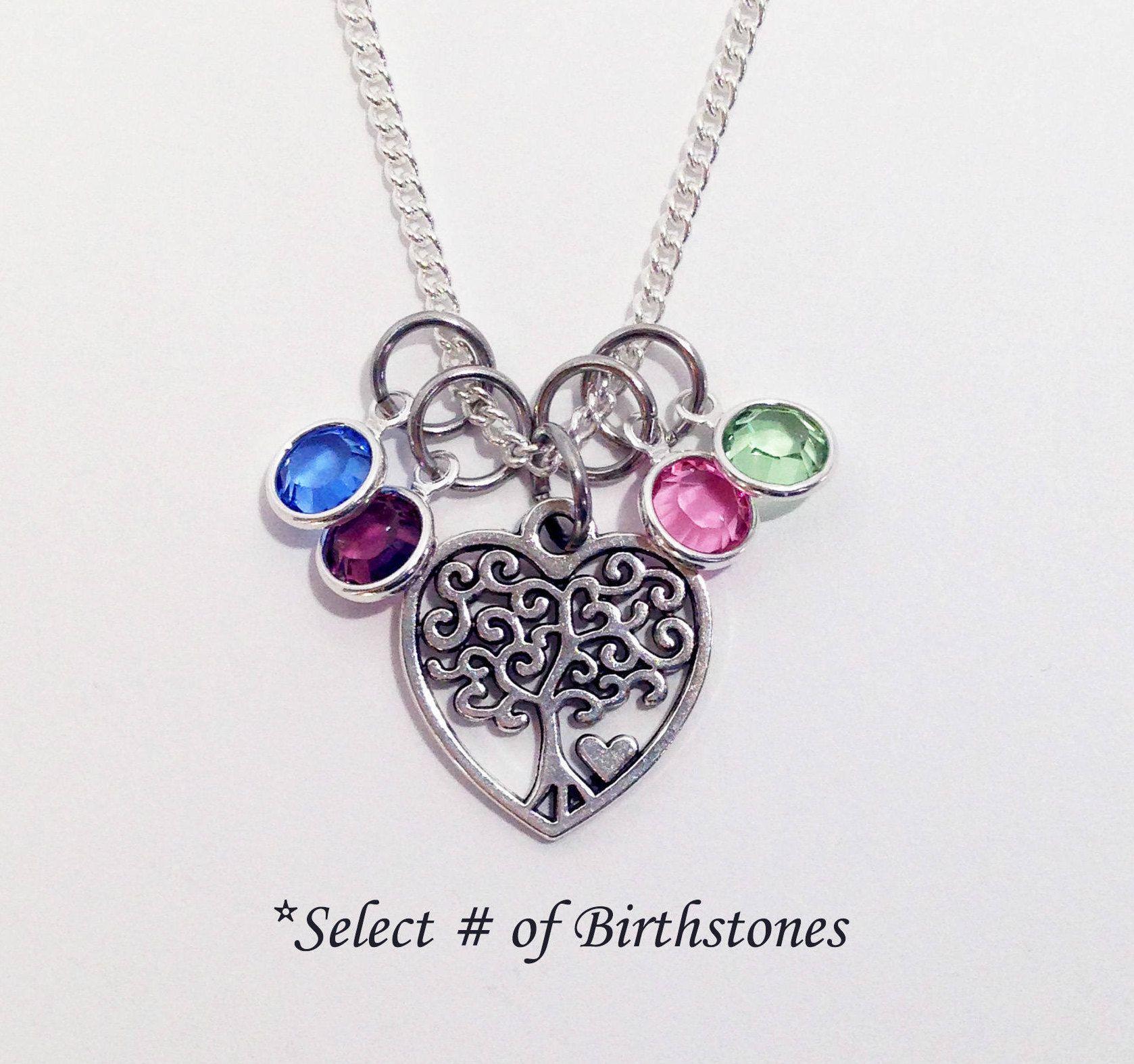 Birthstone Necklace, Family Tree Necklace, Mom Birthstone ...