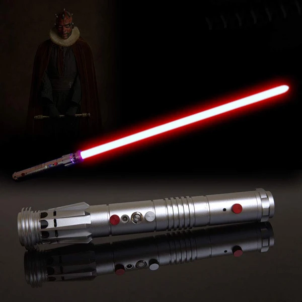 The Sith Apprentice Darth Maul Wields A Double Bladed Lightsaber Made By Joining Two Hilts Together End To End Mau Darth Maul Lightsaber Darth Maul Lightsaber