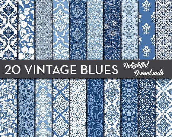 Blue Floral Digital Paper 20 VINTAGE BLUES by DelightfulDownloads