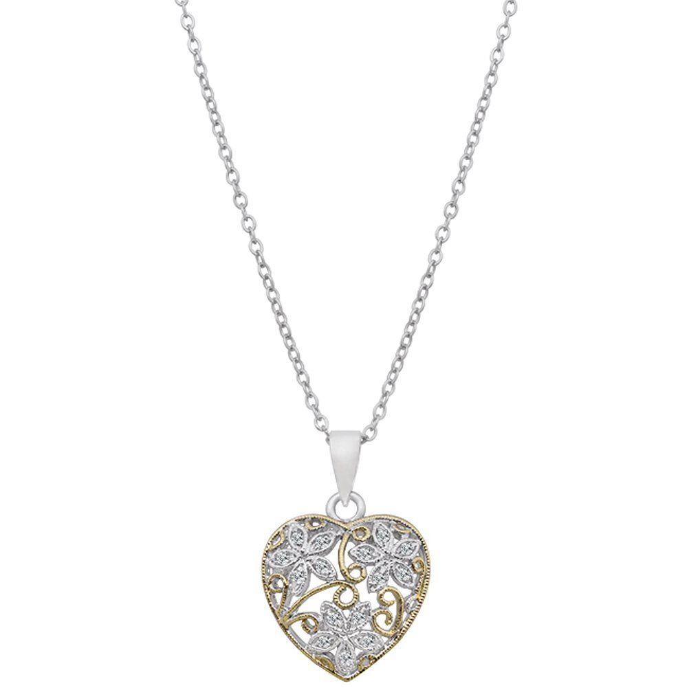 "Alexander James ""Street"" Silver-tone| Gold-tone Clear Cubic Zirconia Flower Pendant Necklace 16"""