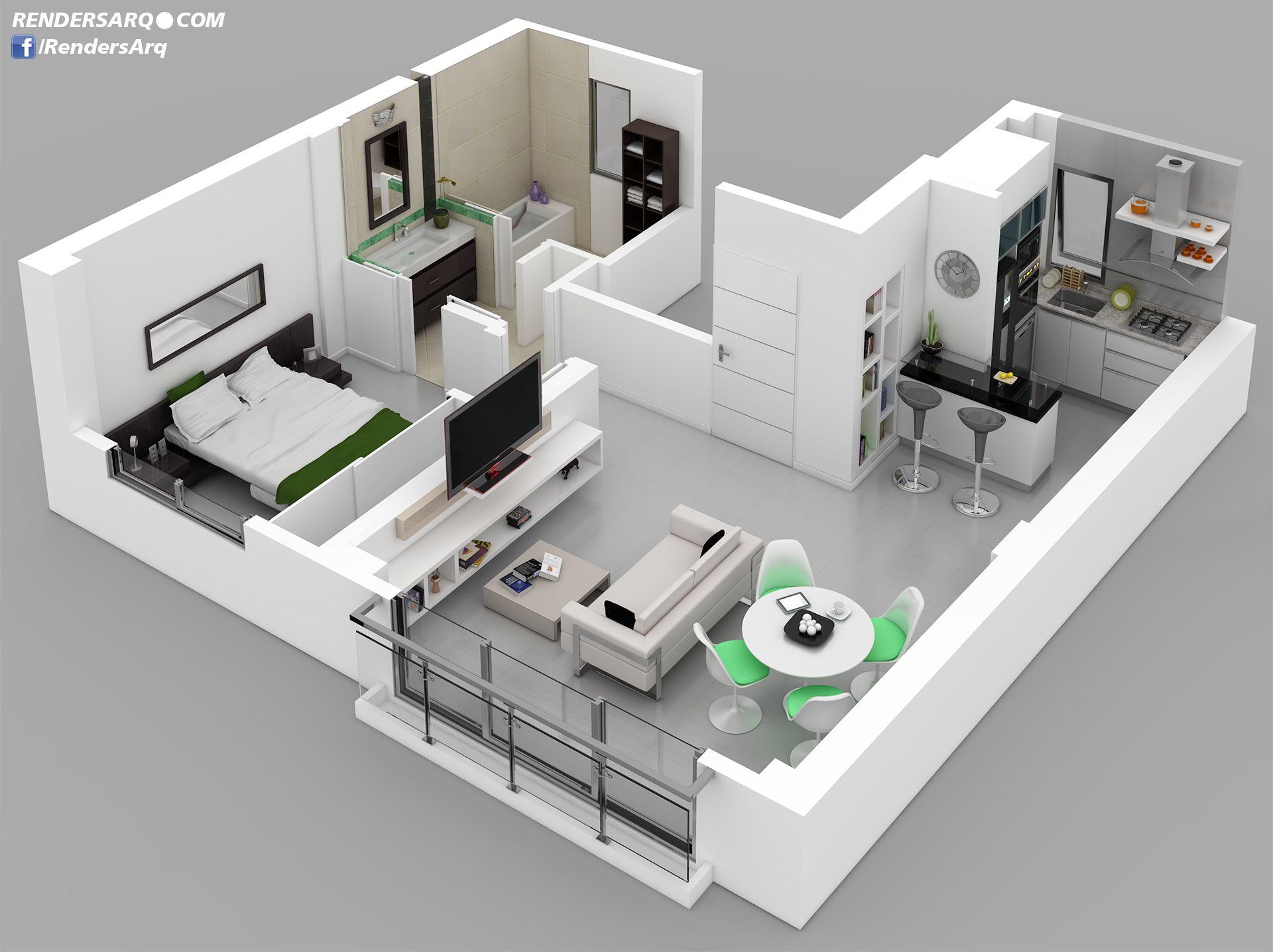 Casas de dos pisos planos 3d google search casas - Planos en 3d de casas ...