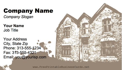 An Old Brick Building Is Featured In This Free Printable Home Renovation Business Card