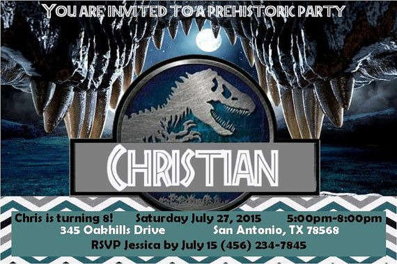 Jurassic world invitation4x6JPGJurassic world by RDandBPaperie