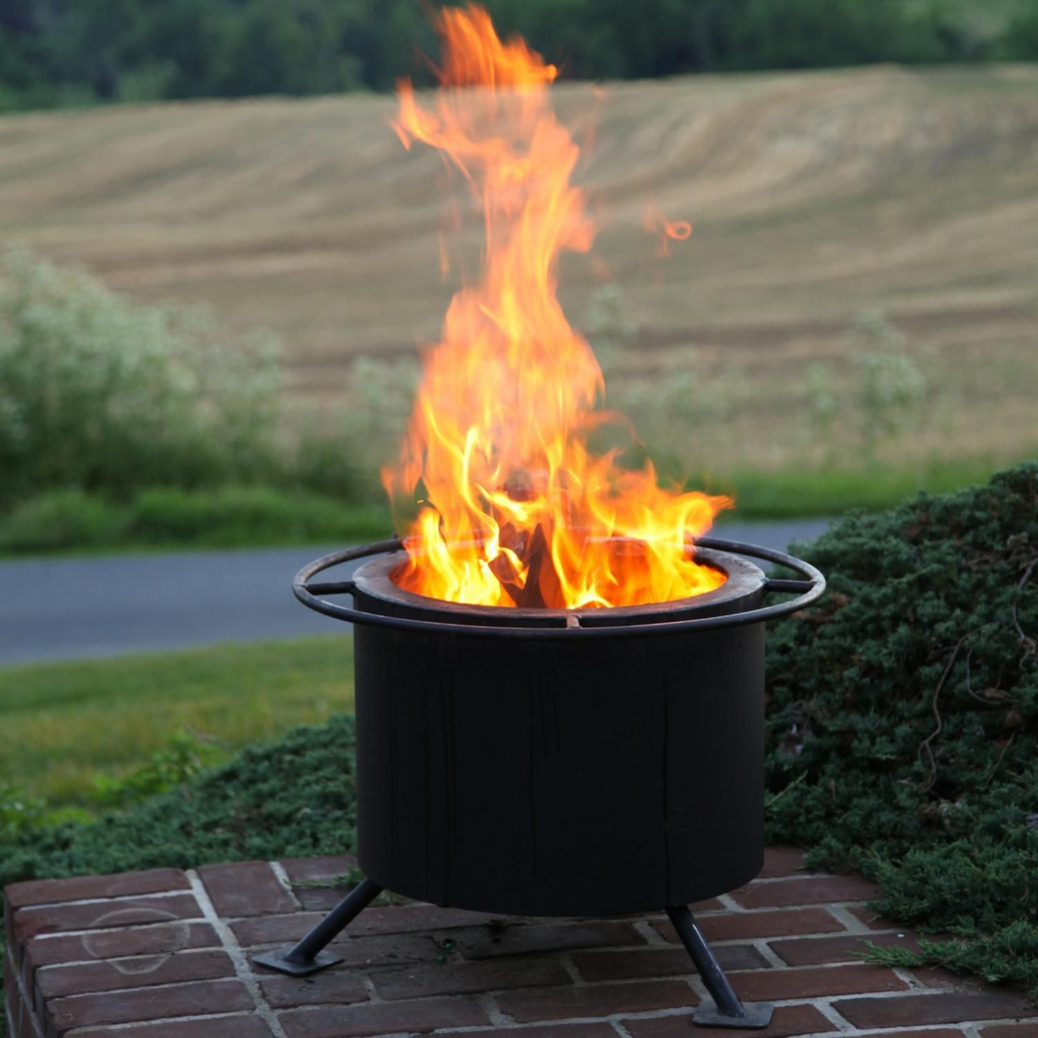 double flame 15 inch smokeless wood burning fire pit wood burning
