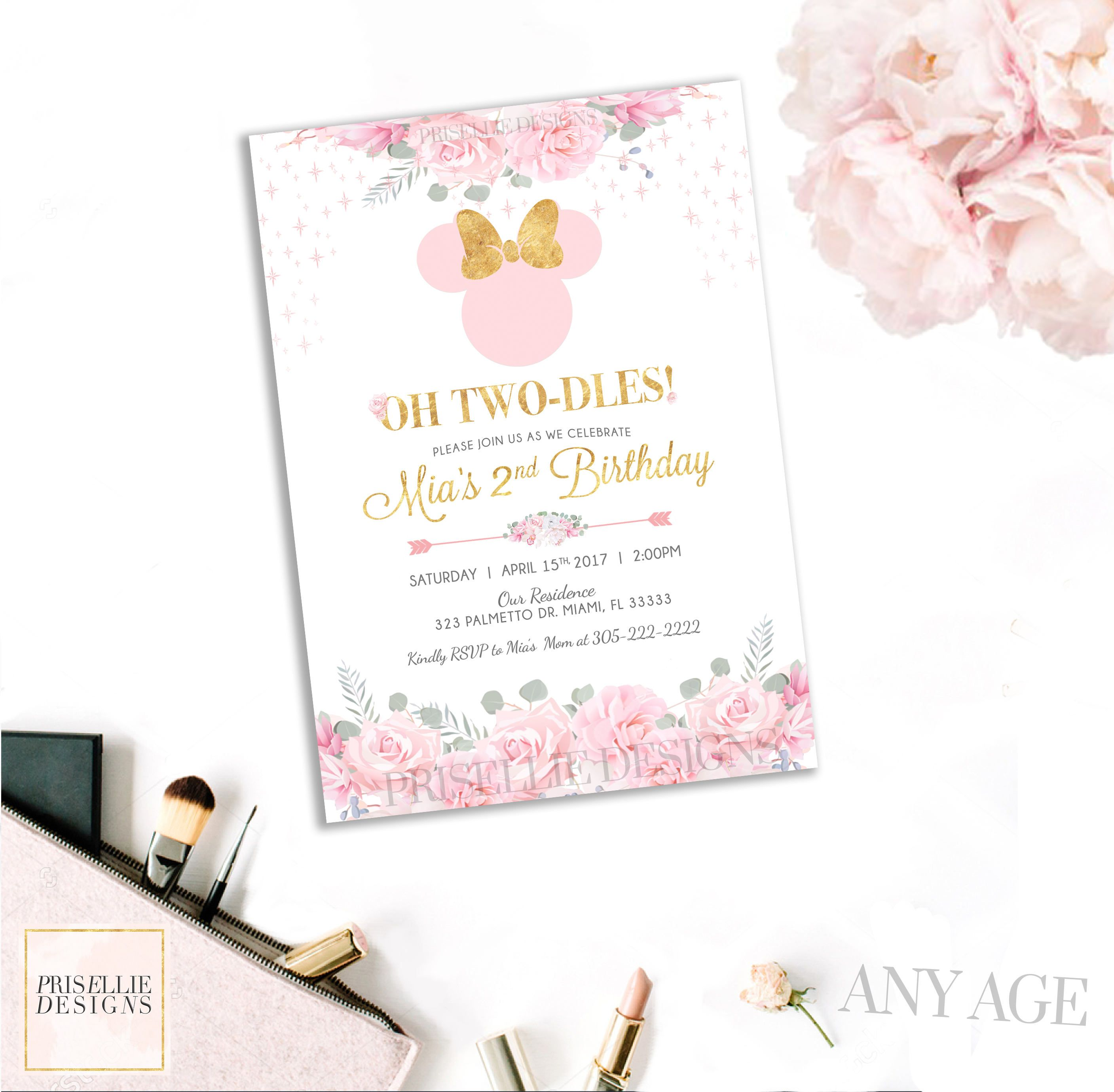 Minnie Mouse Birthday Invitation, Pink and Gold Floral Minnie Mouse ...