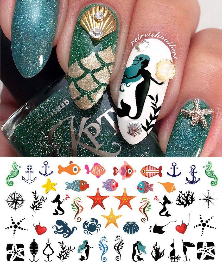 Nautical Nail Art Decals Set #2 | Nautical nail art, Nautical nails ...