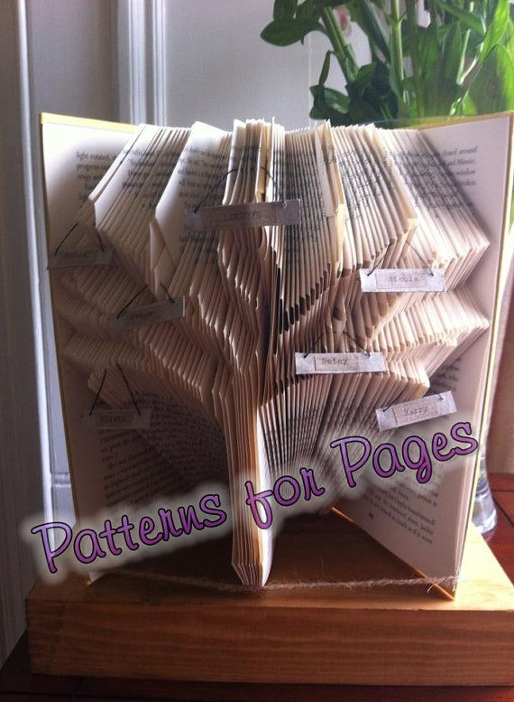 Book folding pattern for a FAMILY TREE by PatternsForPages on Etsy
