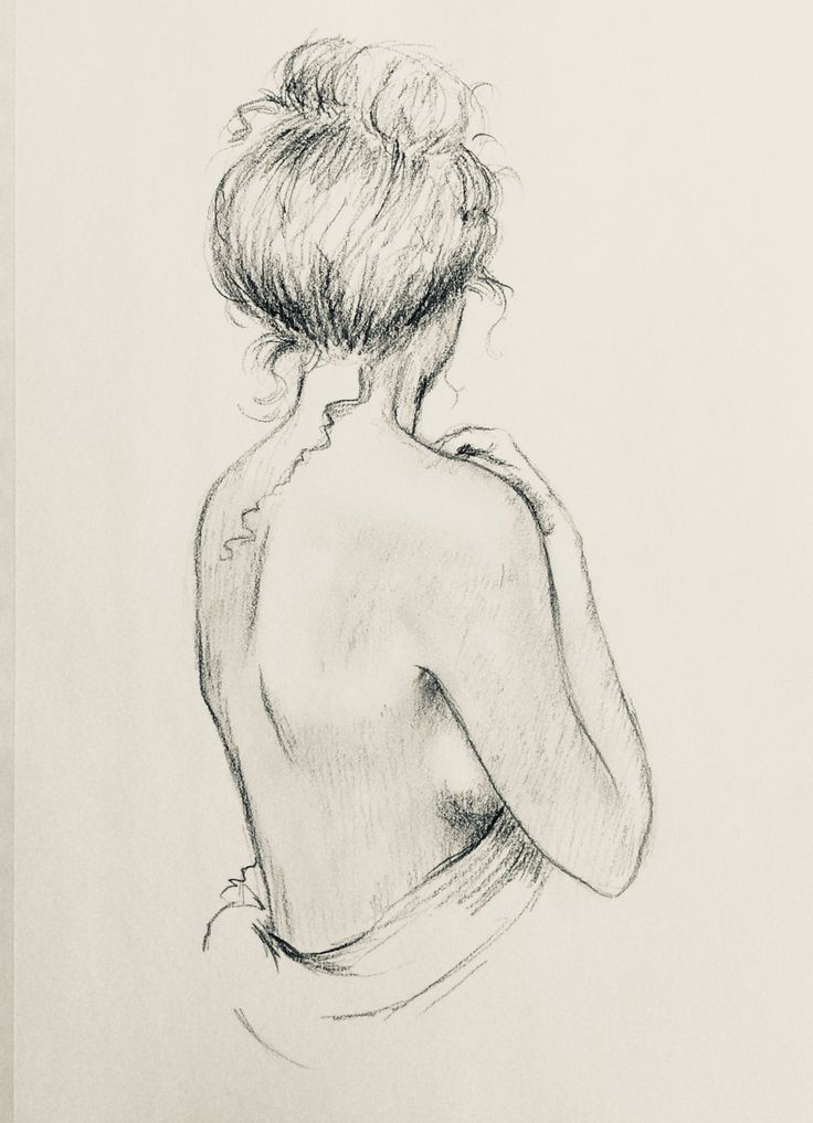 Nude Woman Print Drawing Figurative Portrait sketch minimalist back view by Karen Haring Romantict